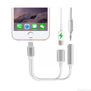 Кабель-адаптер Apple Lightning - > Lightning + miniJek 3.5mm гнездо AUX, кабель  0,1м.